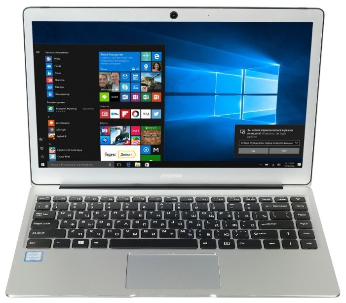 "Digma Ноутбук Digma CITI E302 (Intel Core m3 7Y30 1000 MHz/13.3""/1920x1080/4Gb/64Gb SSD/DVD нет/Intel HD Graphics 615/Wi-Fi/Bluetooth/Windows 10 Home)"