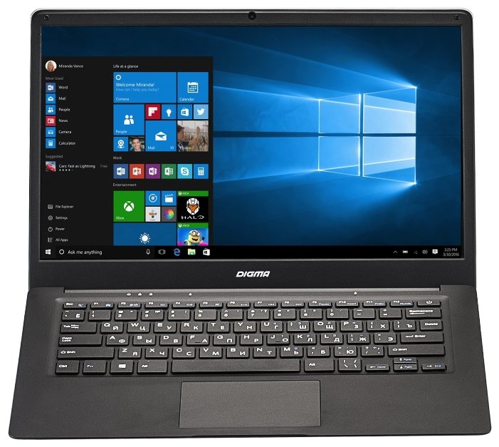 "Digma Ноутбук Digma EVE 1401 (Intel Atom x5 Z8350 1440 MHz/14.1""/1366x768/2Gb/32Gb SSD/DVD нет/Intel HD Graphics 400/Wi-Fi/Bluetooth/Windows 10 Home)"